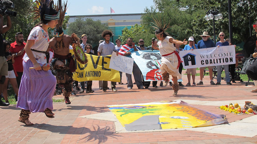 native American dance during SB4 rally in San Antonio