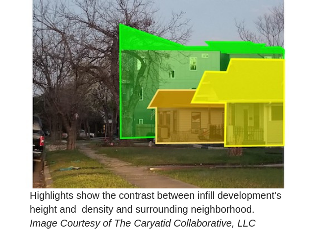 infill development inconsistent with the surrounding neighborhood