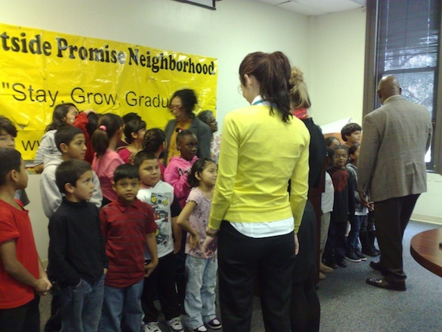 children at Promise news conference