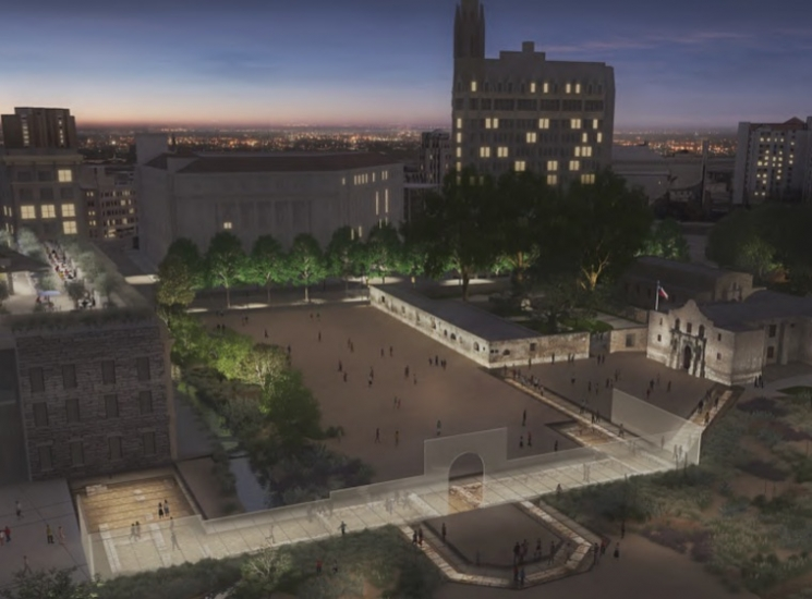 Alamo Plaza Master Plan removes trees and the Cenotaph from center of north end.