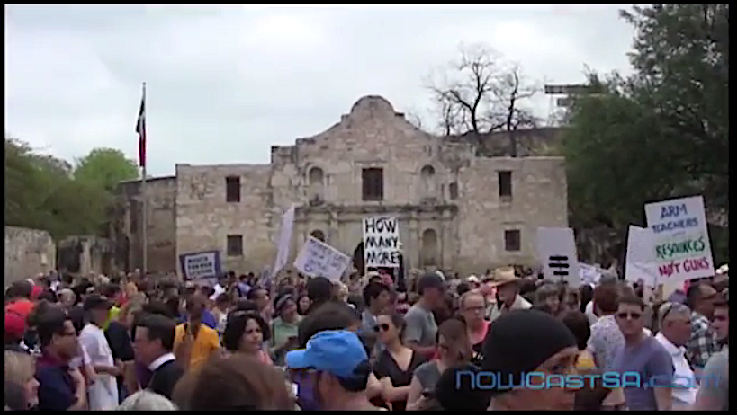 demonstration in front of the Alamo