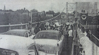 Striking Farm Workers Block Bridge to Mexico in 1966