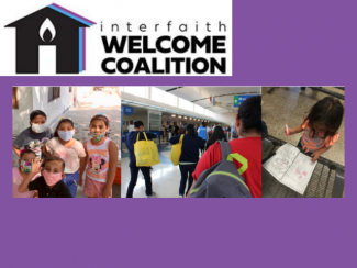 Interfaith Welcome Coalition logo and photo of immigrant children