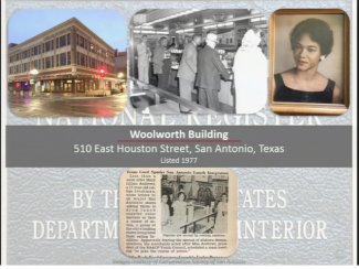 Images of the Woolworth building and lunch counter sit ins