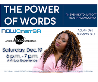 Power of Words flyer with Andrea Vocab Sanderson